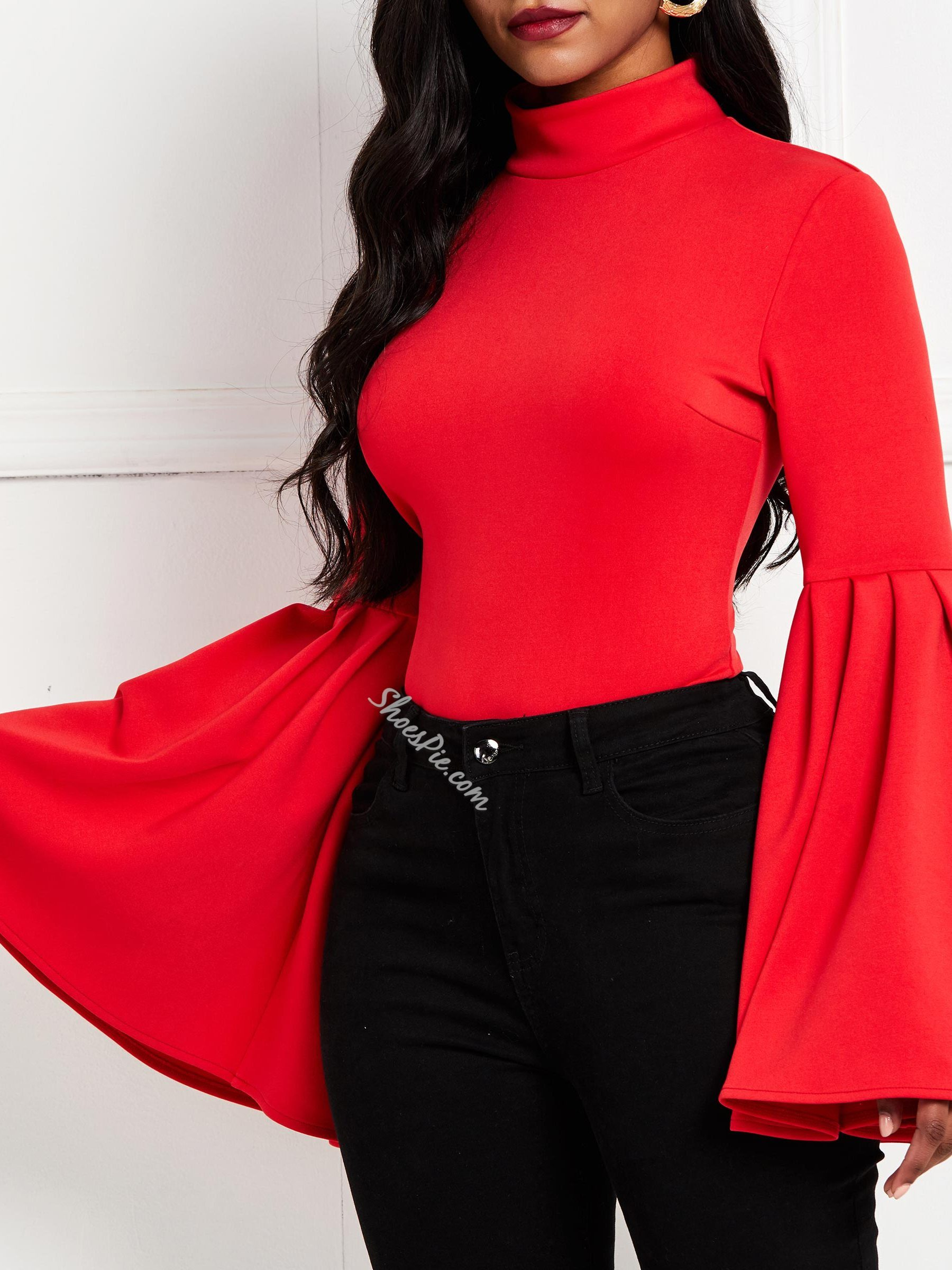 Flare Sleeve Plain Long Sleeve Women's Blouse