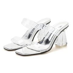 Shoespie Clear Backless Chunky Heel Mules