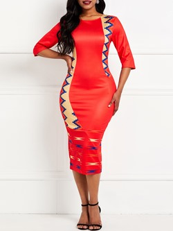 Round Neck Half Sleeve Print Women's Bodycon Dress