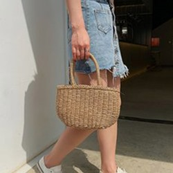 Shoespie Knitted Plain Grass Tote Bags