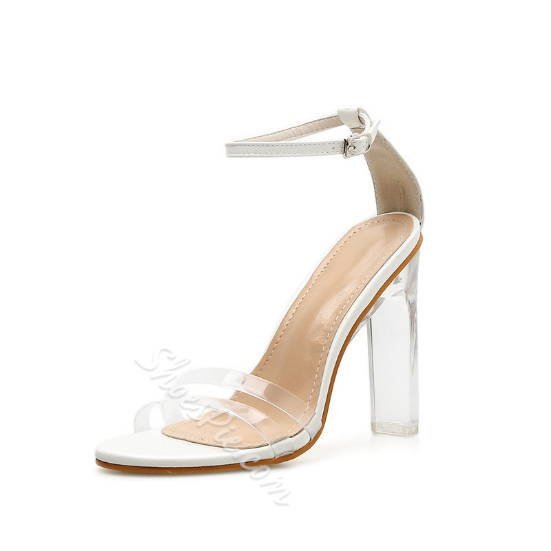 Shoespie Clear Chunky Heel Sandals