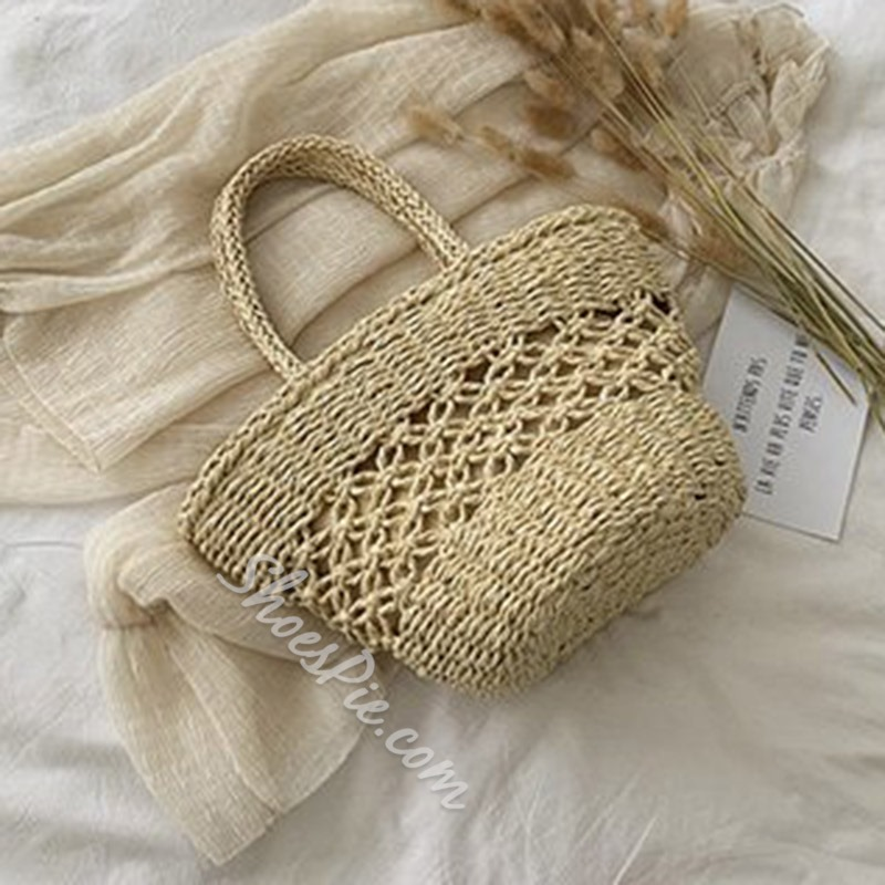 Shoespie Knitted Plain Grass Barrel-Shaped Tote Bags