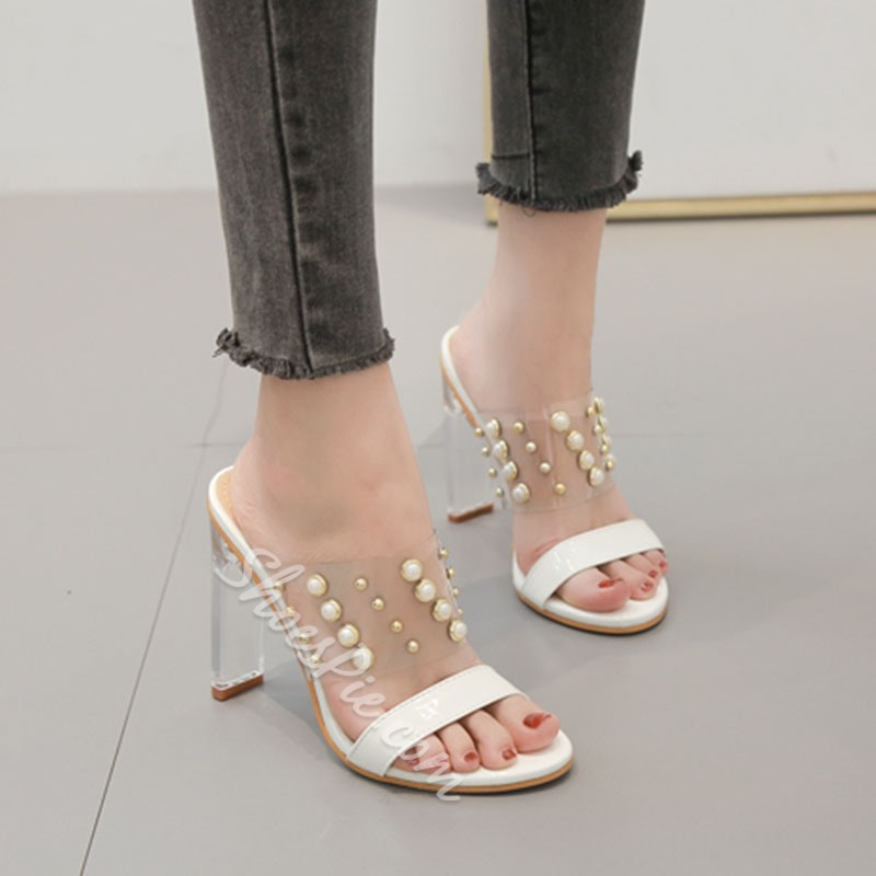 Shoespie Chunky Heel Beads Clear Mules