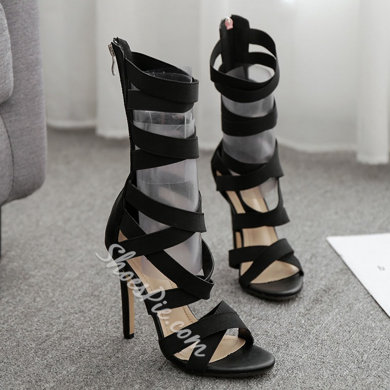 Shoespie Elastic Band Black Stiletto Heel Zipper Sandals