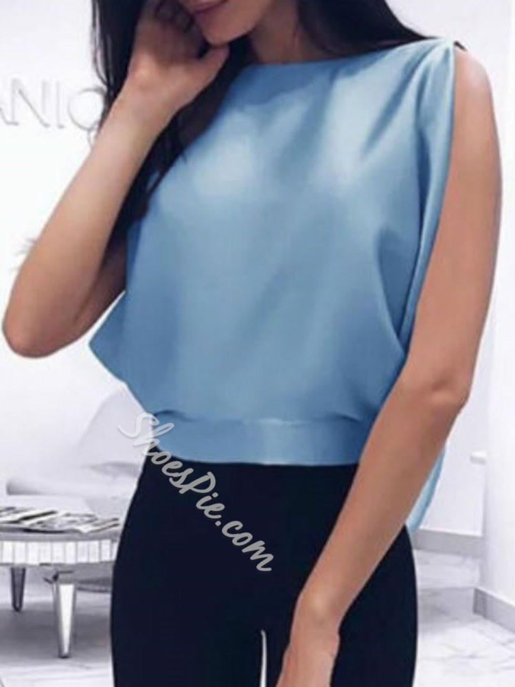 Plain Round Neck Bowknot Sleeveless Women's Blouse