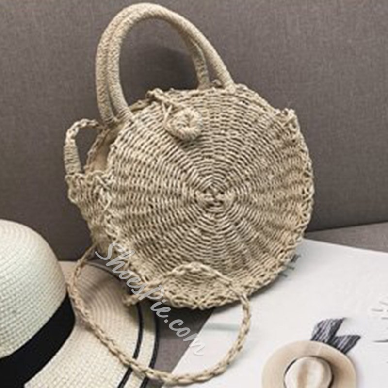 Shoespie Grass Knitted Plain Circular Tote Bags