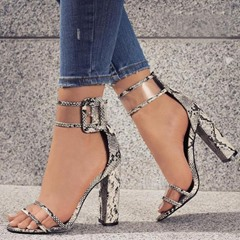 Shoespie Clear Buckle Chunky Heel Sandals
