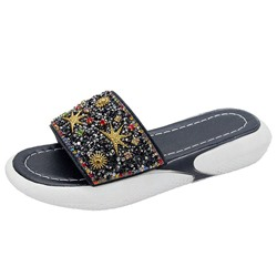 Shoespie Beaded Flat Summer Slippers
