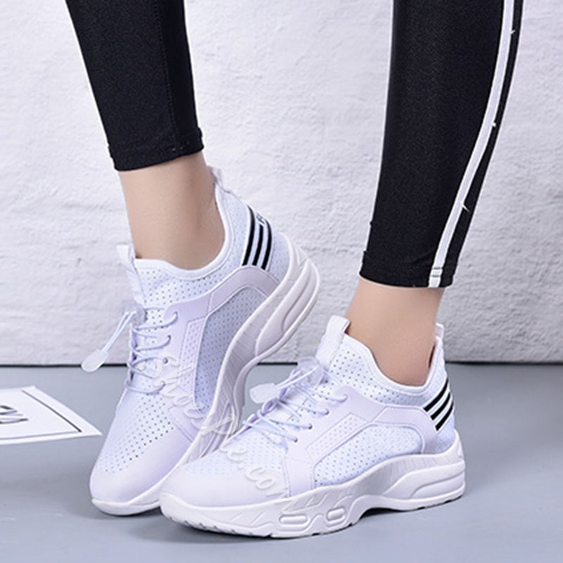 Shoespie Mesh Elastic Band Lace-Up Sneakers