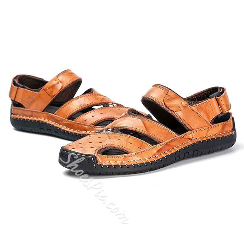 Shoespie Men's Velcro Hollow Sandals