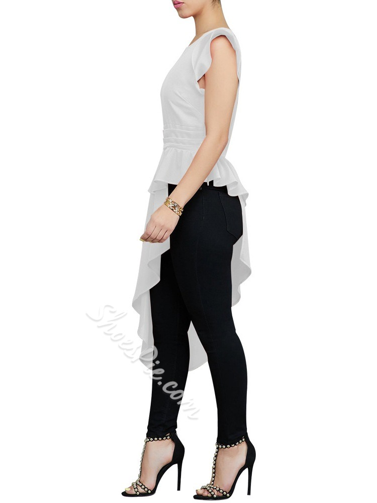 Plain Ruffle Sleeve Stringy Selvedge Long Women's Blouse