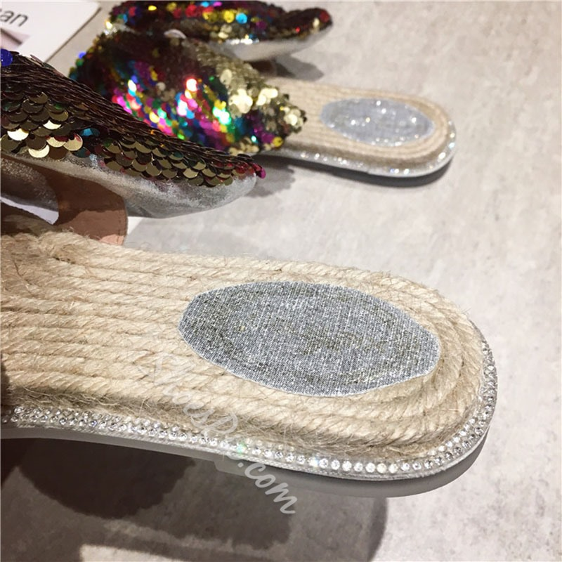 Shoespie Glitter Bow Flat Slippers