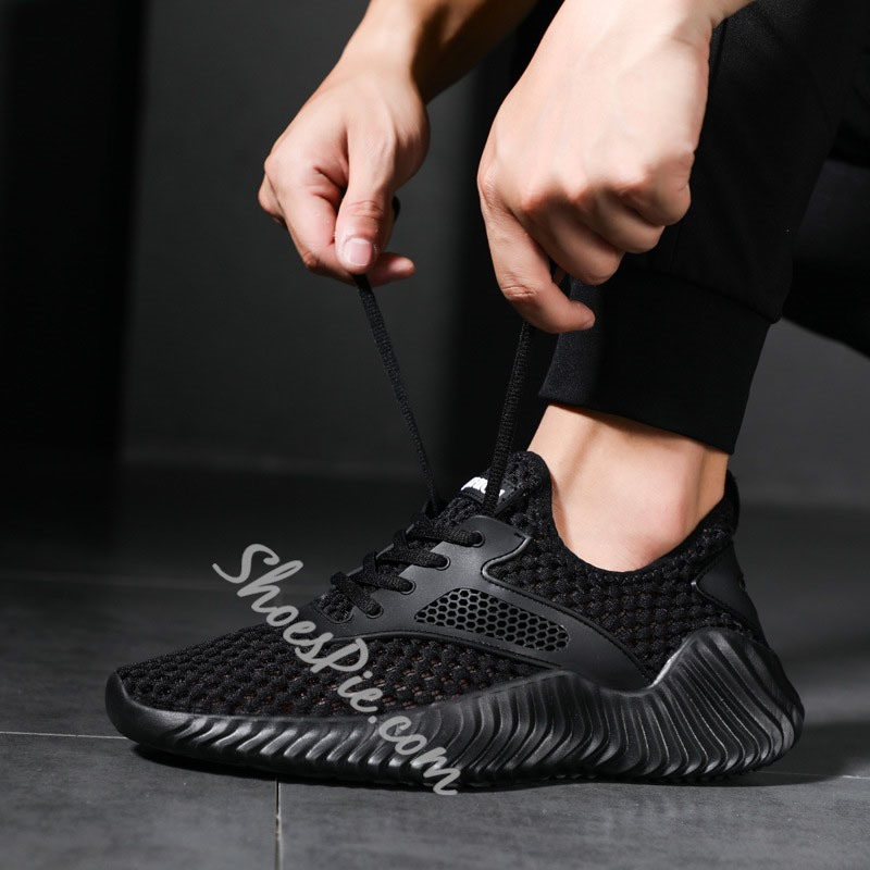 Shoespie Sports Men's Chunky Lace-Up Mesh Sneakers