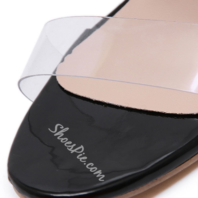 Shoespie Black Clear Jelly Stiletto Heel Slippers
