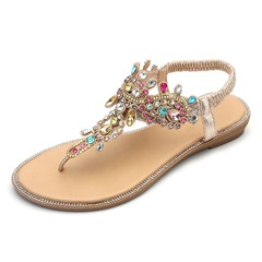 Shoespie Rhinestone Flat Elastic Band Casual Sandals
