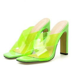 Shoespie Clear Chunky Heel Cross Mules