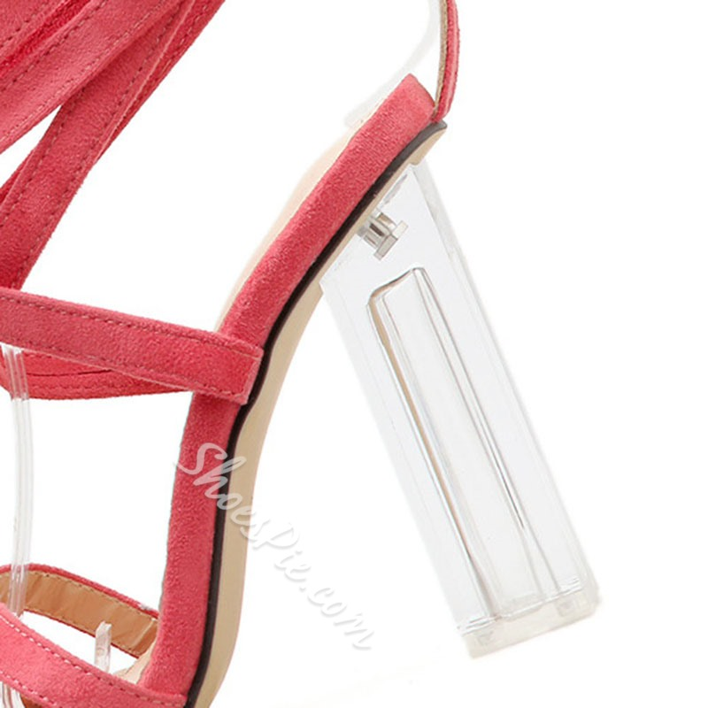 Shoespie Strappy Clear Chunky Heel Sandals