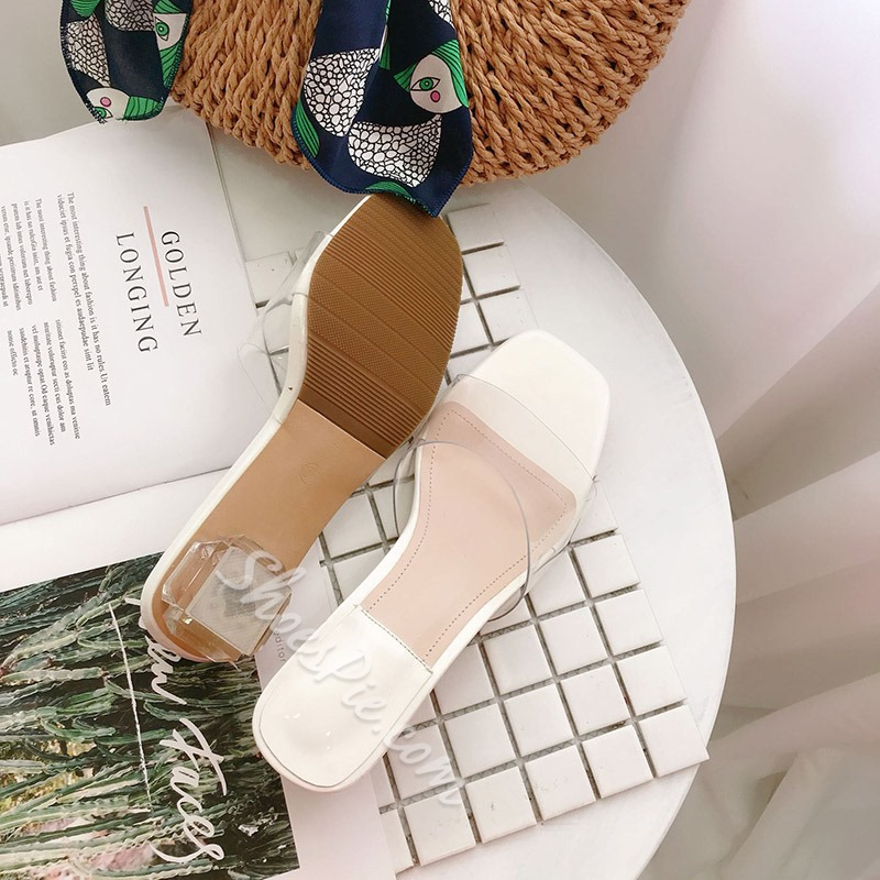 Shoespie Clear Chunky Heel Casual Mules