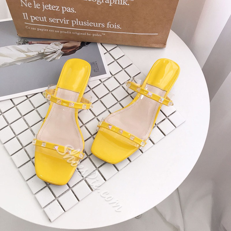 Shoespie Clear Chunky Heel Rivet Slippers