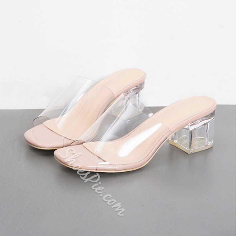 Shoespie Clear Chunky Heel Casual Slippers