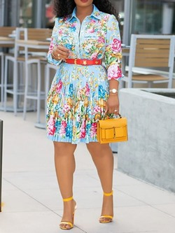 Long Sleeve Print Knee-Length Floral Women's Skater Dress