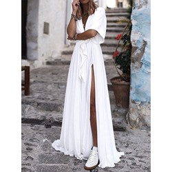 Split Floor-Length Short Sleeve Summer Women's Dress