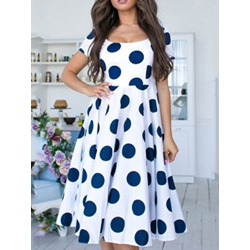 Print Knee-Length Round Neck Polka Dots Women's Dress