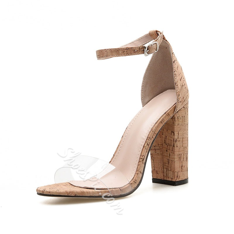 Shoespie Solid Buckle Strap Clear Chunky Heel Sandals