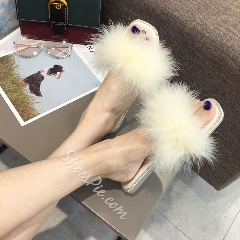 Shoespie Fluffy Flat Open Toe Slippers