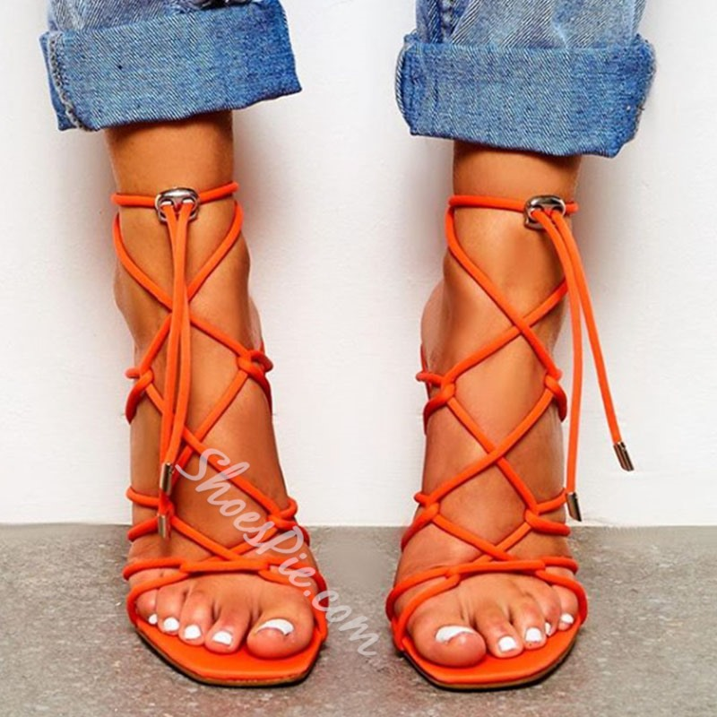 Shoespie Lace-Up Strappy Stiletto Heel Sandals