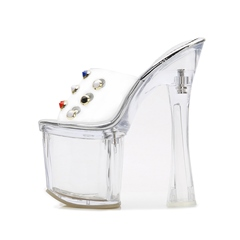 Shoespie Clear Chunky Heel Platform Beads Slippers