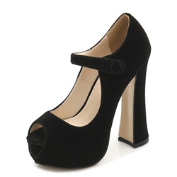 Shoespie Peep Toe Platform Chunky Heel Buckle Pumps