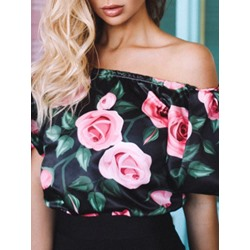 Print Off Shoulder Floral Short Sleeve Women's Blouse
