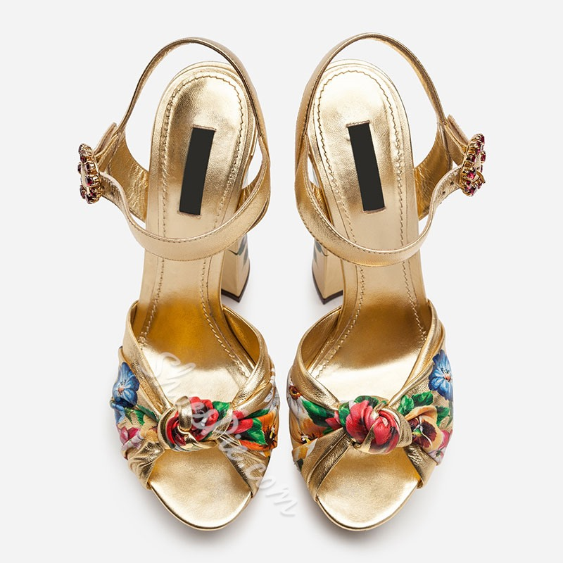 Shoespie Platform Chunky Heel Gold Ankle Strap Peep Toe Sandals