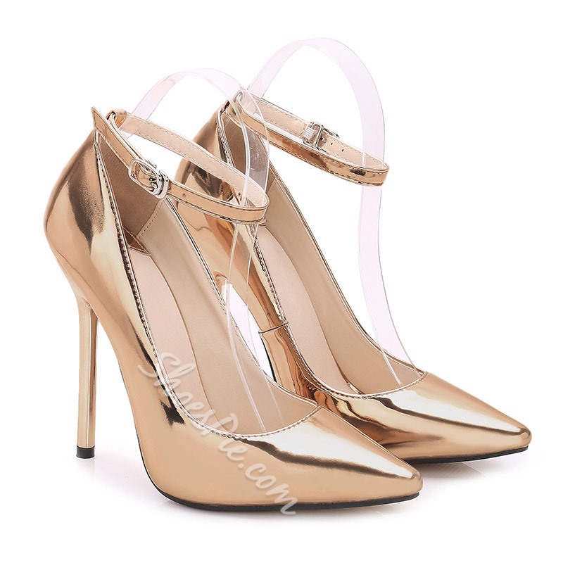 Shoespie Buckle Stiletto Heel Prom Pumps