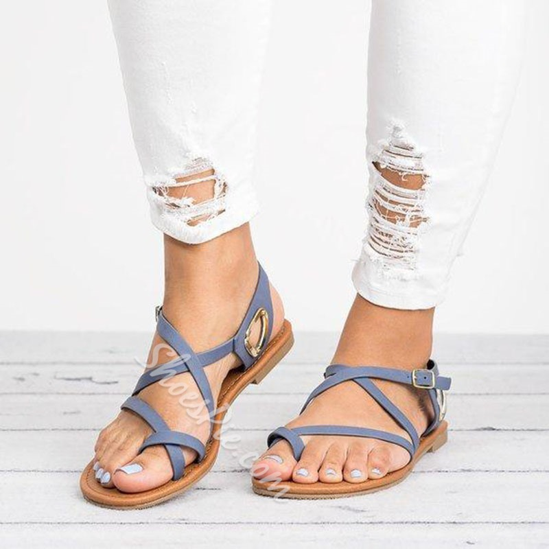 Shoespie Buckle Flat Toe Ring Casual Sandals