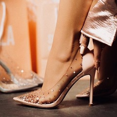 Shoespie Clear Beaded Pointed Toe Stiletto Heels
