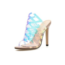 Shoespie Jelly Stiletto Heel Hollow Casual Slippers