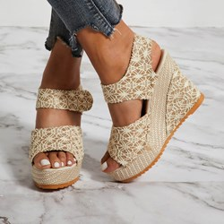 Shoespie Velcro Peep Toe Wedge Heel Sandals