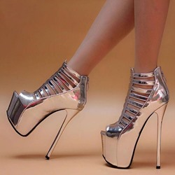 Shoespie Hollow Silver Stiletto Heel Zipper Peep Toe Pumps