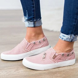 Shoespie Zipper Canvas Casual Sneakers