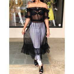 Mesh Off Shoulder Stripe Long Women's Blouse