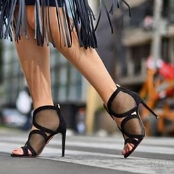 Shoespie Mesh Stiletto Heel Black Zipper Sandals
