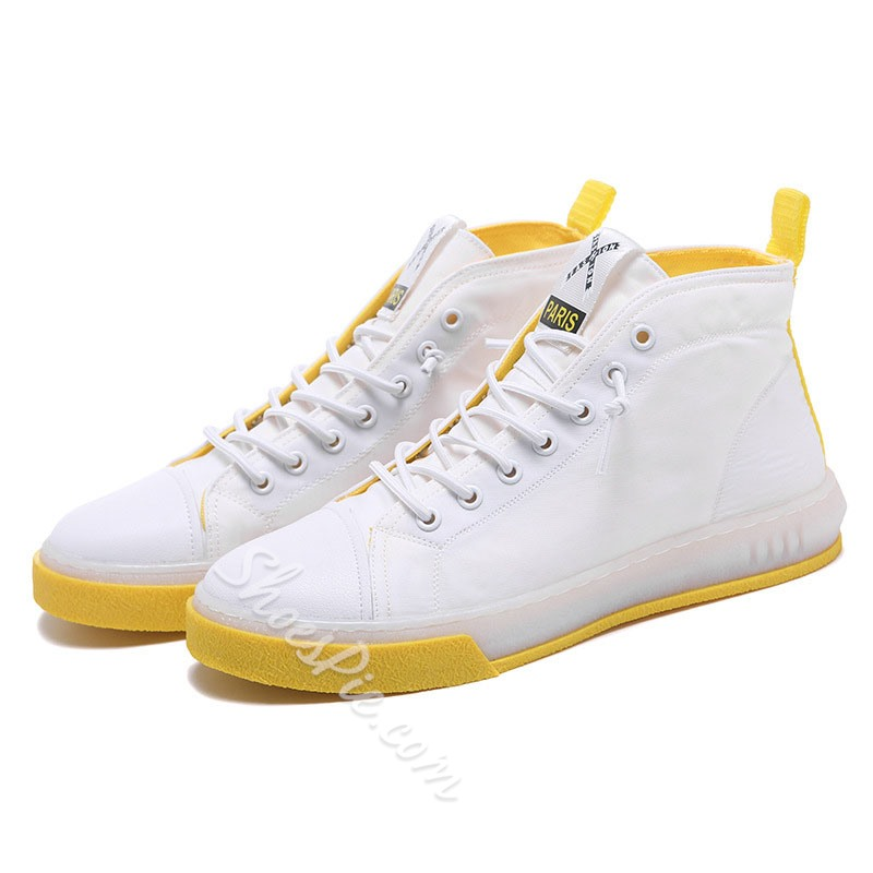 Shoespie High-Cut Men's White Skate Shoes