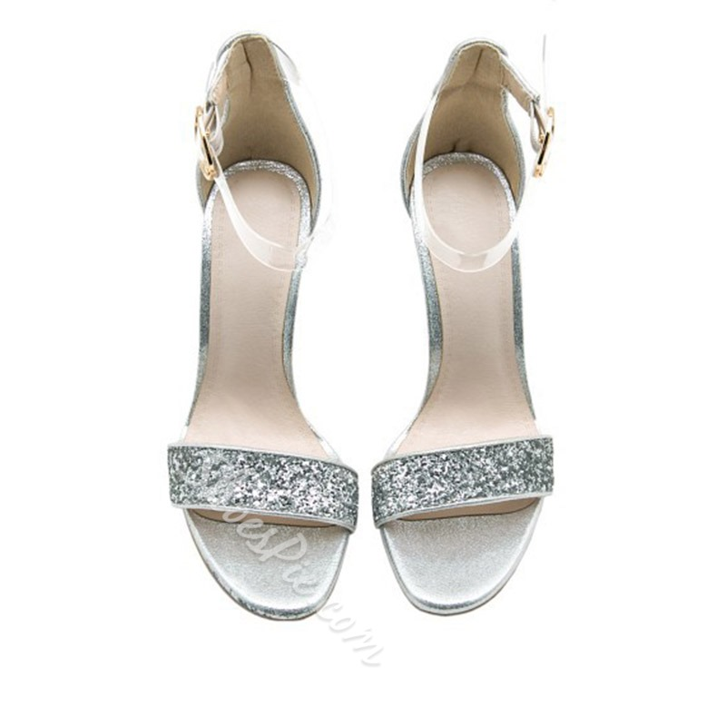 Shoespie Glitter Clear Chunky Heel Sandals