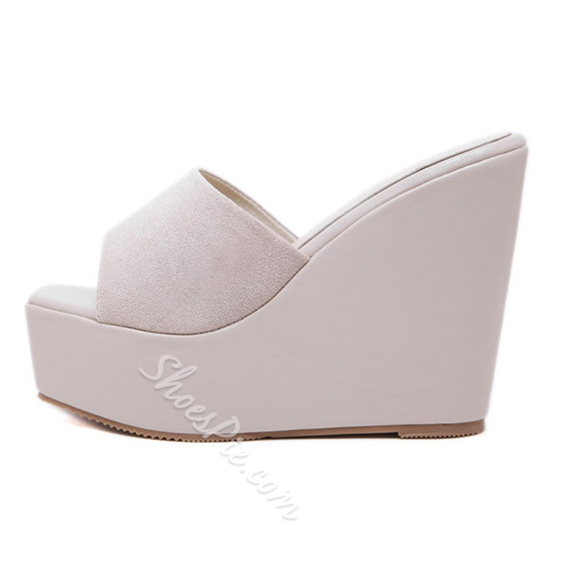 Shoespie Open Toe Wedge Heel Mules