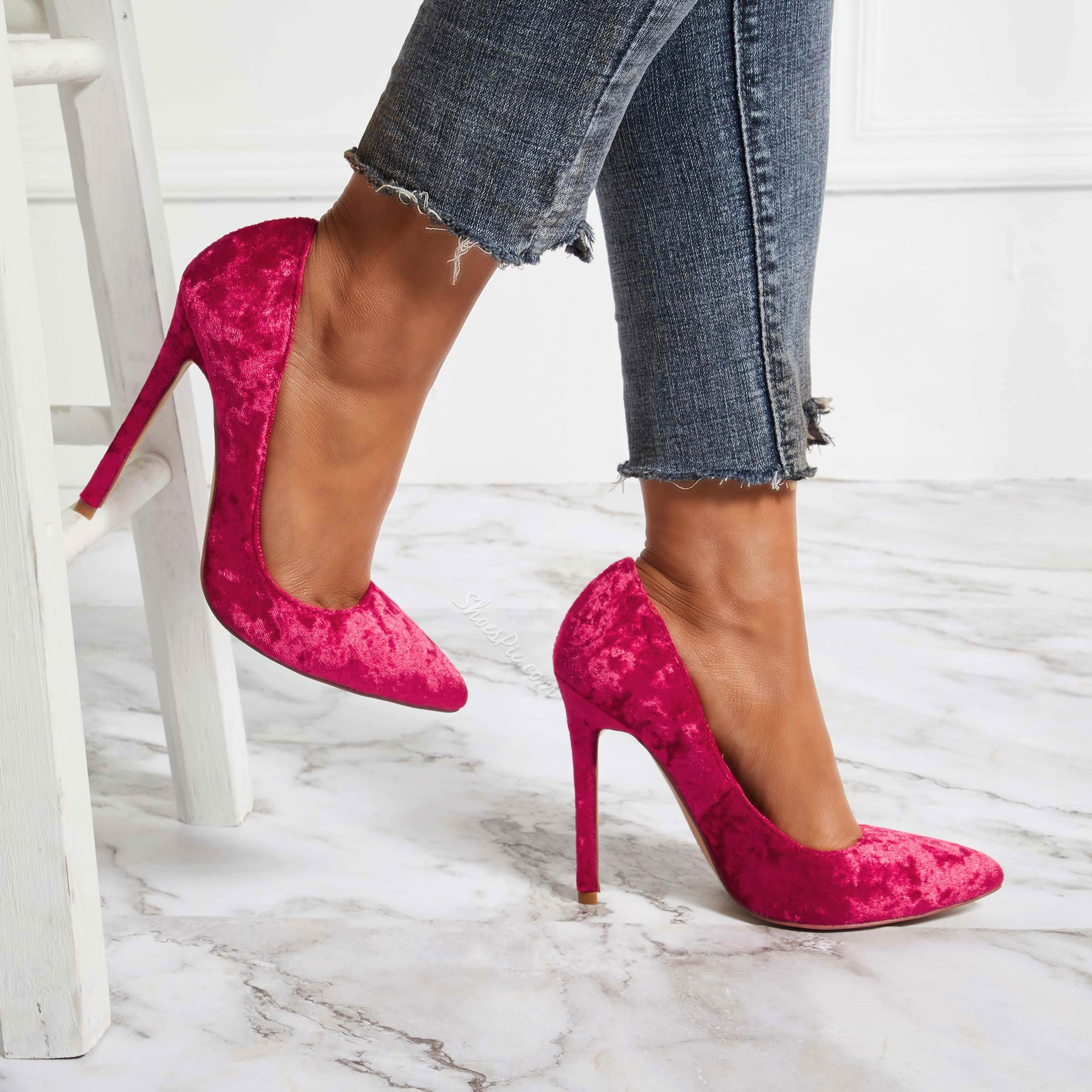 Suede Burgundy Pointed Toe Stiletto Heels