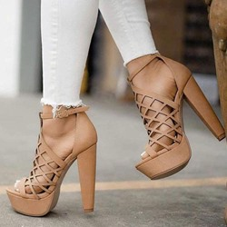 Shoespie Nude Buckle Platform High Heel Buckle Sandals