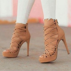 Shoespie Stiletto Heel Nuede Zipper Hollow Sandals
