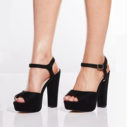 Shoespie Ankle Strap Buckle Chunky Heel Sandals
